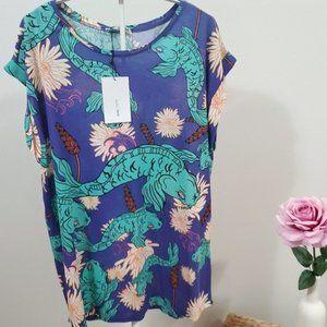 ZARA Rolled Sleeve Printed Catfish Tshirt Size M